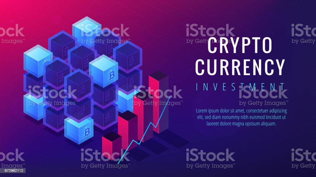 Isometric cryptocurrency investment landing page concept vector art illustration