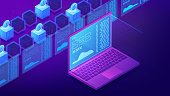 Isometric cryptocurrency trading landing page concept. Trading strategy, platform, cryptocurrency wallet and stock exchange on ultra violet background. Vector 3d isometric illustration.