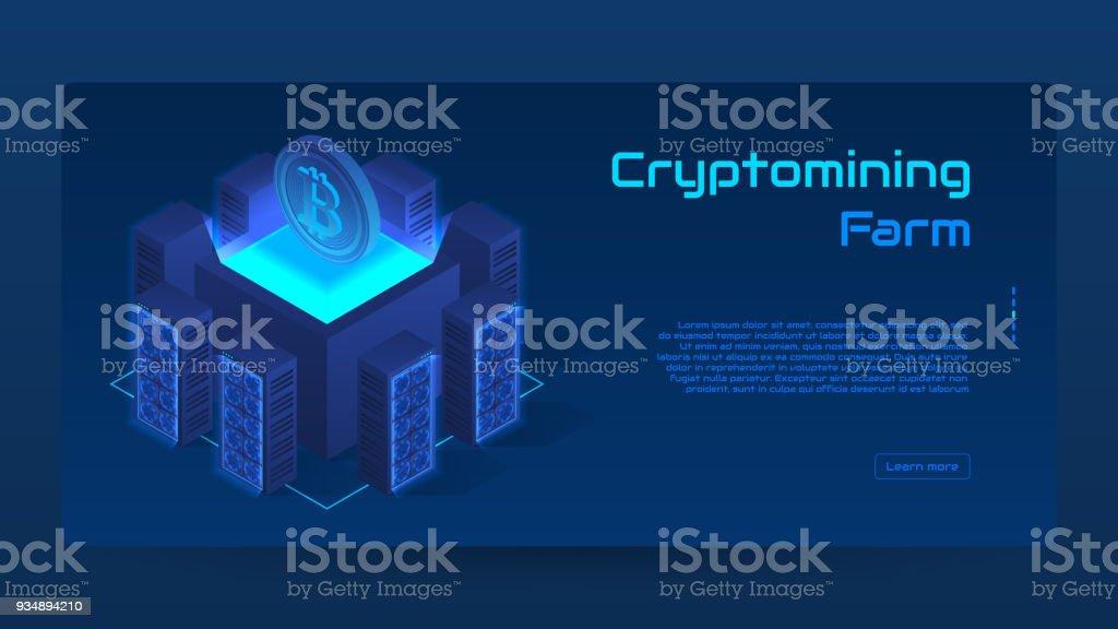 Isometric cryptomining farm concept banner vector art illustration