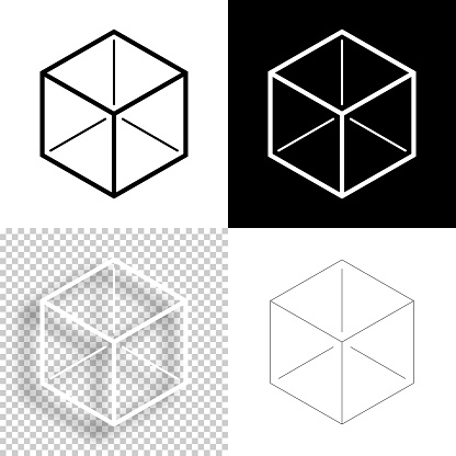 Isometric cube. Icon for design. Blank, white and black backgrounds - Line icon