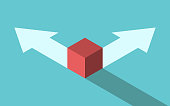 Isometric red cube on different directions arrows, choice between two ways. Opportunity, decision, confusion, challenge concept. Flat design. EPS 8 vector illustration, no transparency, no gradients