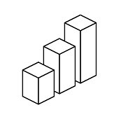 Isometric cubes. 3d graph outline vector icon. Editable stroke
