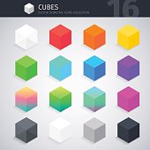 Isometric colorful cubes vector icons collection. Clipping paths included in JPG file.