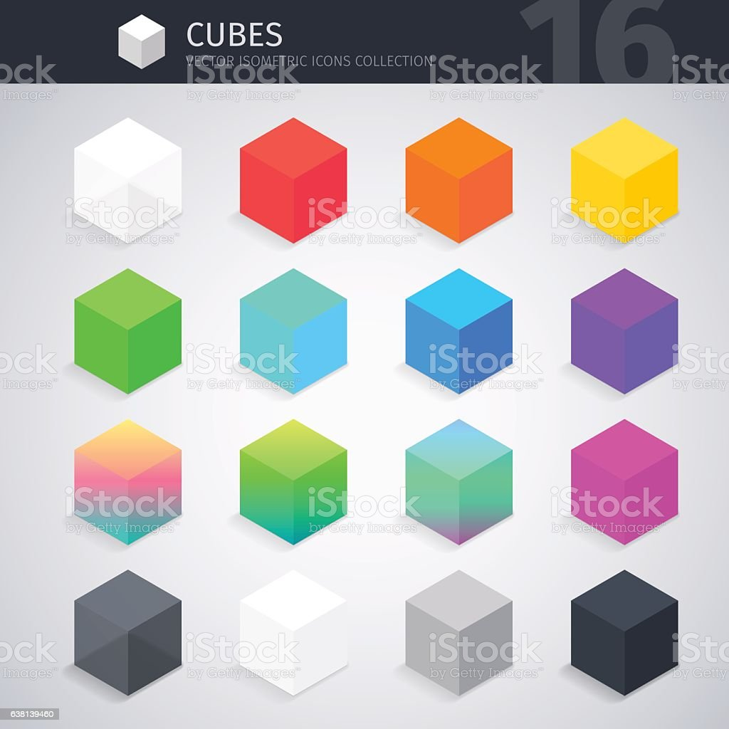 Isometric Cubes Collection vector art illustration