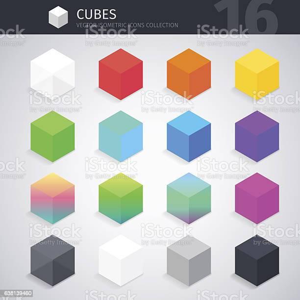 Isometric Cubes Collection - Immagini vettoriali stock e altre immagini di A forma di blocco
