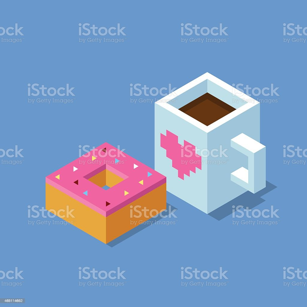 Isometric cup of coffee and donut vector art illustration