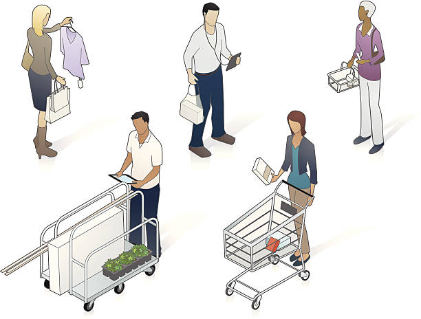 isometric customers illustration - mathisworks people icons stock illustrations, clip art, cartoons, & icons