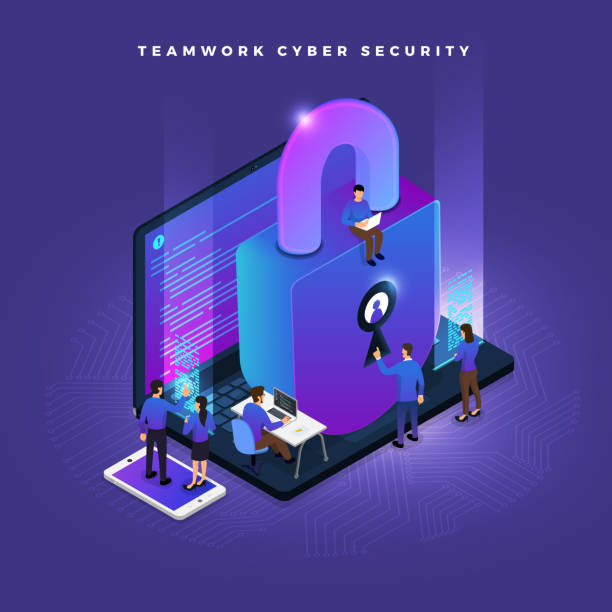 Isometric cyber security Business teamwork of small peoples working concept cyber security data and computer. Vector isometricillustrations. cybersecurity stock illustrations
