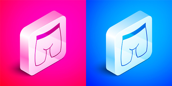 Isometric Cycling shorts icon isolated on pink and blue background. Silver square button. Vector