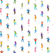 Isometric Dancing People Characters Seamless Pattern Background on a White Music Party, Disco. Vector illustration of Dancers Persons
