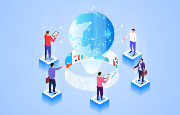 Isometric data analysis and statistics, global business strategic planning research vector art illustration