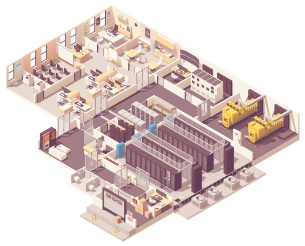 isometric data center interior - computer server room stock illustrations