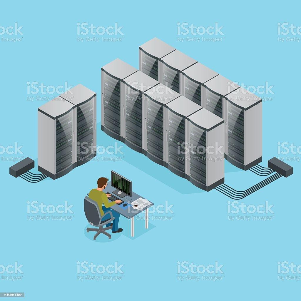 Isometric data center vector art illustration