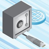 An isometric vector safe and an isometric hdmi cable. Data protection, file storage, security concept.