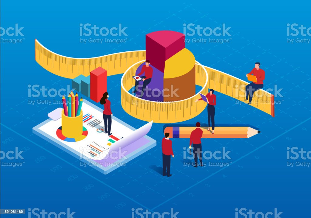 Isometric data statistics and analysis vector art illustration