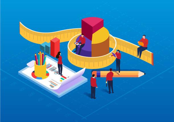 아이소메트릭 데이터 통계 및 분석 - 측정 장치 stock illustrations