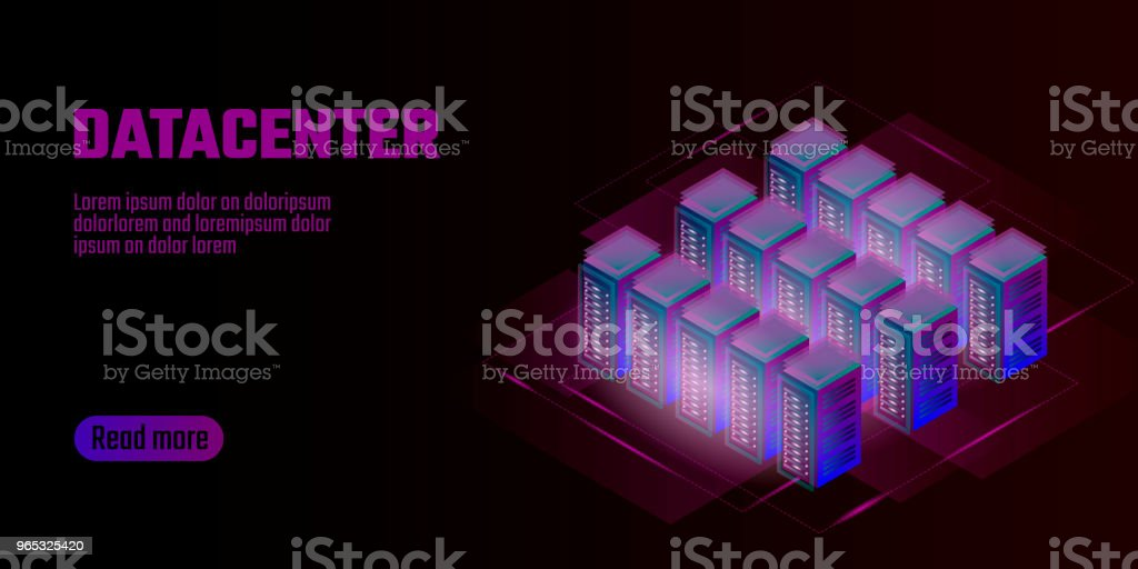 Isometric datacenter cloud computing storage concept banner. Site hosting big data processing rack rent. Mainframe computer network system server farm mining 3d neon dark design vector illustration royalty-free isometric datacenter cloud computing storage concept banner site hosting big data processing rack rent mainframe computer network system server farm mining 3d neon dark design vector illustration stock vector art & more images of abstract
