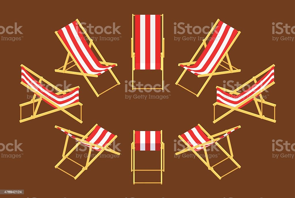Isometric deck chair Set of the isometric deck chairs. The objects are isolated against the brown background and shown from different sides 2015 stock vector