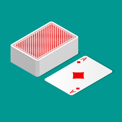 Isometric deck of poker cards upside down and one card suit up