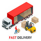 Isometric delivery and shipment service. Fast and Free Transport. Pallet with boxes and delivery process in store vector illustration
