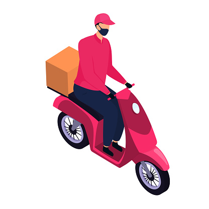 Isometric delivery man in a protective mask delivering parcels by a motorbike