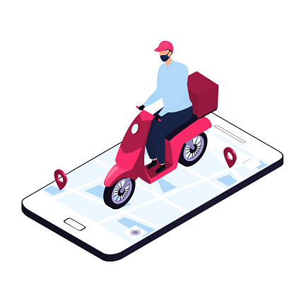 Isometric delivery man in a protective mask delivering parcels by a motorbike. Smart phone with map and geolocation.