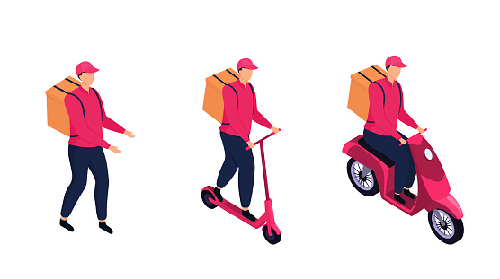 Isometric delivery man is delivering parcels by a motorbike, by electric scooter, by foot.