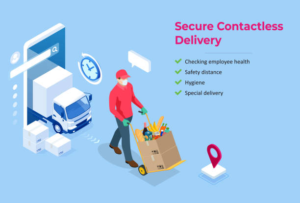Isometric delivery man or courier in a medical mask and gloves delivering food to customer at home. Online purchases during a quarantine. Contactless or to the door delivery. Isometric delivery man or courier in a medical mask and gloves delivering food to customer at home. Online purchases during a quarantine. Contactless or to the door delivery samenwerking stock illustrations