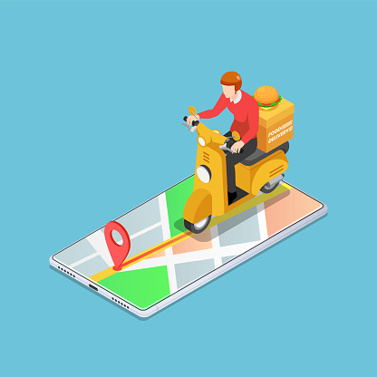 Isometric delivery man ride motorcycle on the smartphone with gps navigation