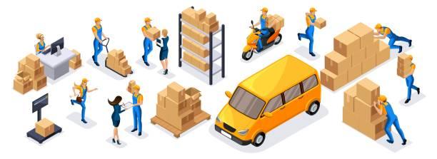 stockillustraties, clipart, cartoons en iconen met isometrische leveringsservice, koeriers, magazijn werknemers, callcenter een grote set van symbolen en concepten om hun eigen tekeningen te maken - warenhuismedewerker