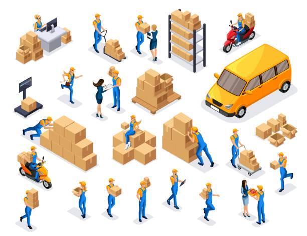 stockillustraties, clipart, cartoons en iconen met isometrische leveringsservice, koeriers, magazijn werknemers, call center is een grote verzameling van symbolen en concepten voor het maken van vector illustraties - warenhuismedewerker
