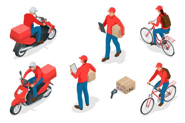 Parto de Isometric servicio o mensajero concepto de servicio. Los trabajadores de entrega o mensajero. Ilustración de vector - ilustración de arte vectorial