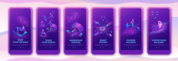 Isometric delivery service with truck at warehouse, mobile app template set, smart logistics company illustration, shipment by plane, car, by postal drone, people receive parcel at packstation vector art illustration