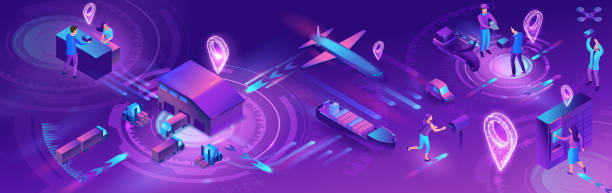 Isometric delivery service with truck, horizontal banner, smart logistics company illustration, artificial intelligence managing transport system, robot watching screen with map, airplane, car vector art illustration