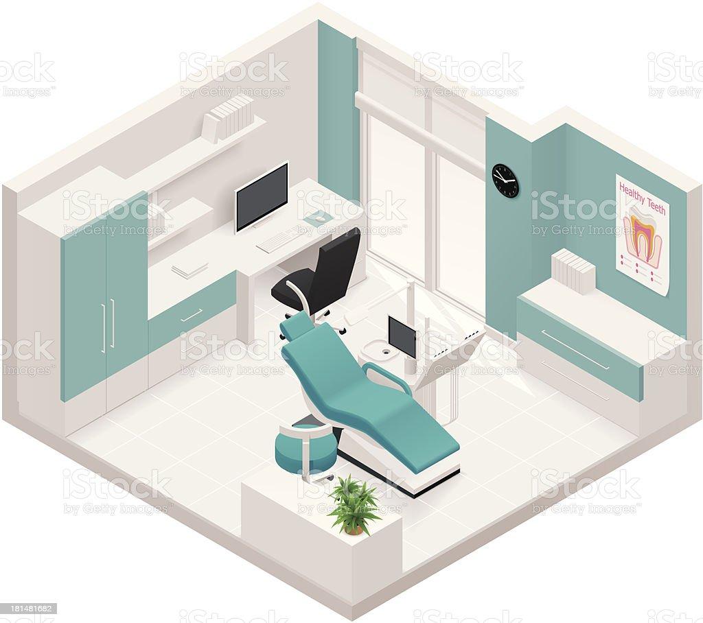 Isometric dental clinic icon vector art illustration