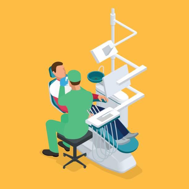 等尺性の歯科医を調べることは、歯科医の椅子に歯をマンします。医療コンセプト ベクターアートイラスト