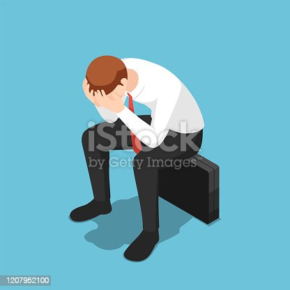 istock Isometric depressed businessman facepalm or cover his face by hands sit on business briefcase 1207952100