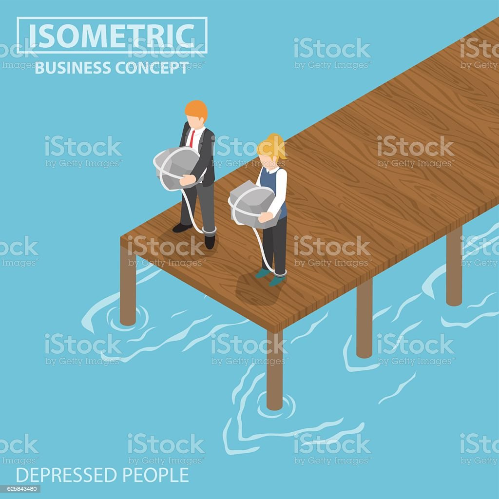 Isometric depressed businessman with rock and rope thinking of s vector art illustration