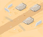 A vector illustration of desert style warfare with tanks and bomb craters.