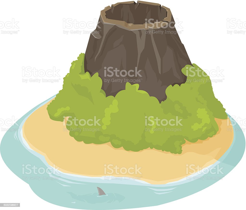 Isometric Desert Island with Volcano and beach vector art illustration