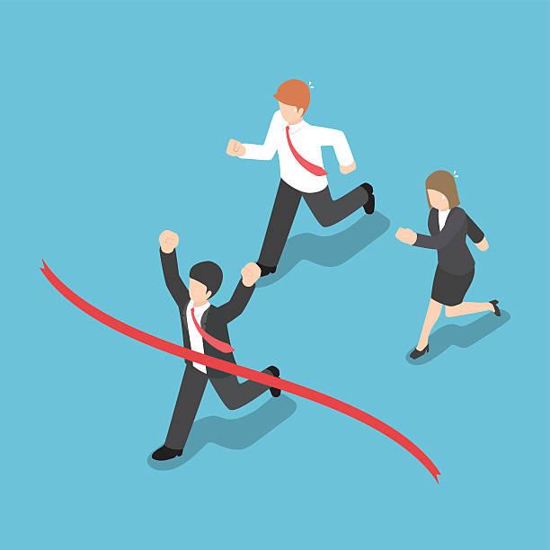 isometric design businessman winning competition and crossing th - 競技運動 幅插畫檔、美工圖案、卡通及圖標