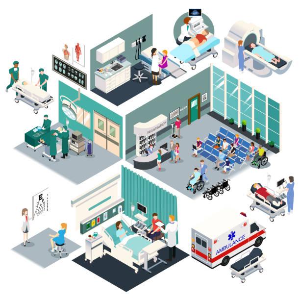 Isometric Design of a Hospital Vector Illustration vector art illustration