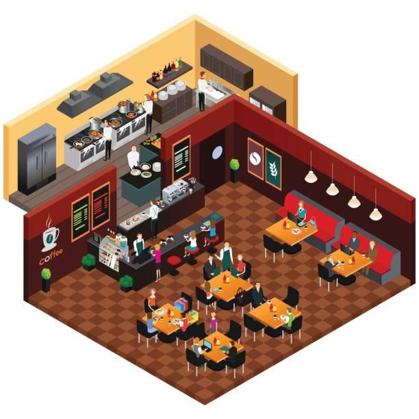 ilustraciones, imágenes clip art, dibujos animados e iconos de stock de isometric design of a restaurant - busy restaurant kitchen