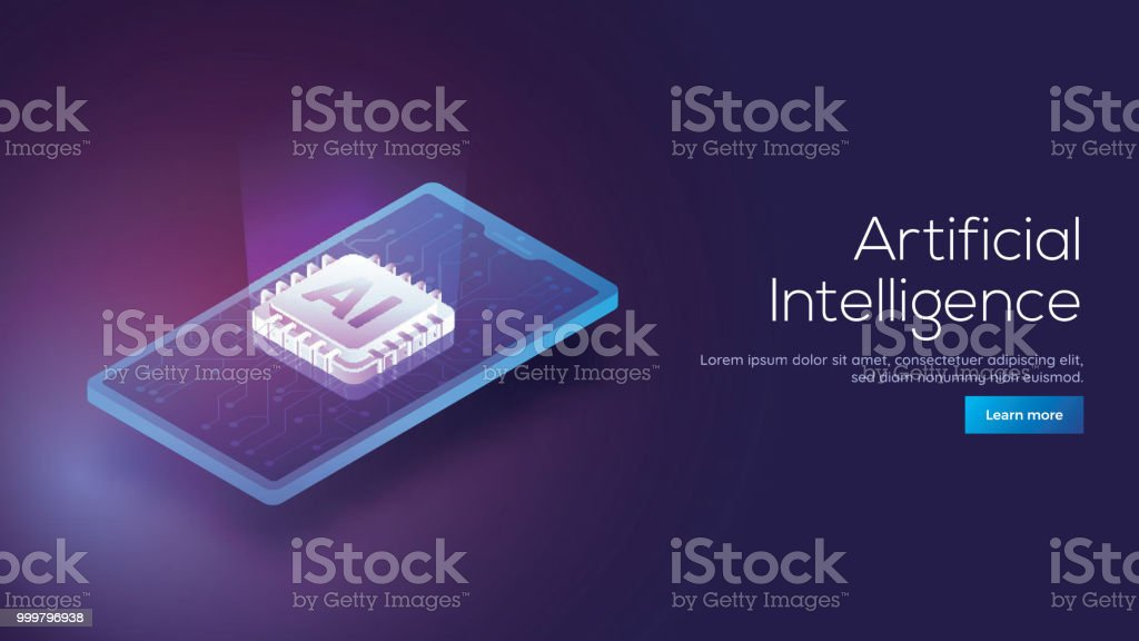3D isometric design of a smartphone and emerging digital rays from AI processor chip for responsive Artificial Intelligence landing page concept. royalty-free 3d isometric design of a smartphone and emerging digital rays from ai processor chip for responsive artificial intelligence landing page concept stock illustration - download image now