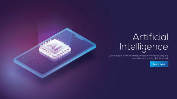bir akıllı telefon ve ai işlemci yongası duyarlı yapay zeka açılış sayfası kavramı için dijital ışınlarından ortaya çıkan 3d izometrik tasarımı. - cpu stock illustrations