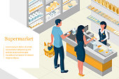 Interior isometric design of a supermarket. Shelves with products. The buyer pays for purchases. A man holds a basket full of purchases. The cashier serves consumers. Landing page.