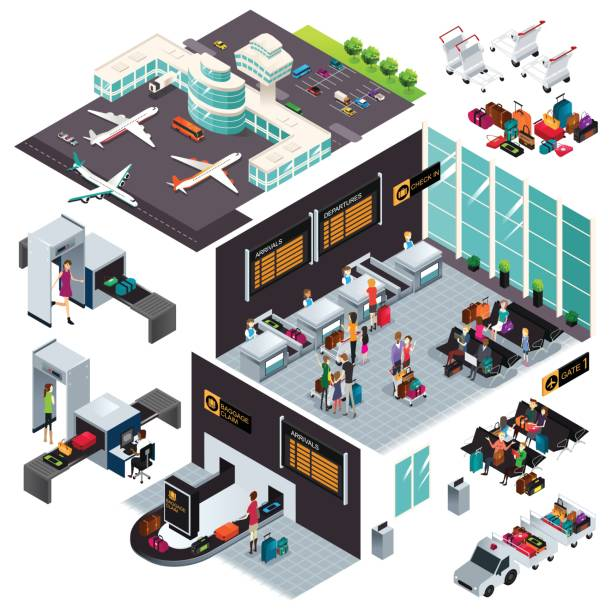 Isometric Design of an Airport A vector illustration of Isometric Design of an Airport airport clipart stock illustrations