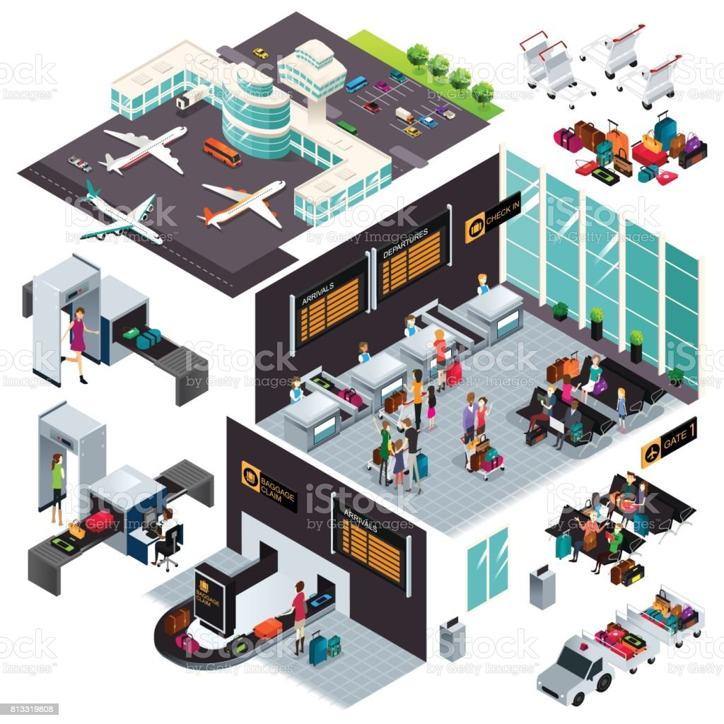 Isometric Design of an Airport vector art illustration