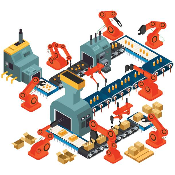 Isometric Design of Automated Processing Plant vector art illustration