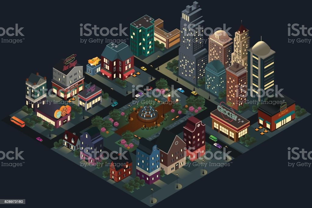 Isometric Design of City Streets and Buildings at Night vector art illustration